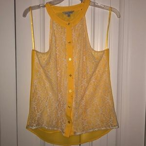 Yellow with white lace tank blouse